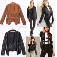 women black short leather jacket - 2015 Spring winter Hot Sell Women Fashion Slim Short Synthetic Leather Jacket Women Black Brown SV007749