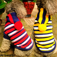 Wholesale College Style Knit Stripes Hooded Sweatshirts New Pet Dog Sweaters Autumn Winter Thick Warm Coat Apparel Sport Wear Jackets Outerwear