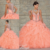 Reference Images best party lights - Best Selling Ball Gown Quinceanera Dresses Ball Gown Ruffled Peach Organza Beading Crystal Sheer Back Sweetheart Sweet Party Dresses