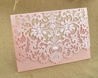 Wholesale 215 Hot Sell Customizable Pink Red Hollow Wedding Invitation Card Supplies Free Printable Cards Foil Stamping