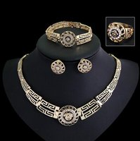 Wholesale Fashion lion head Bracelet Ring Necklace Earrings Africa gold jewelry set
