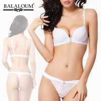 bc shipping - Wedding white bra women s underwear sexy push up bra side gathering seamless thong set BC CUP