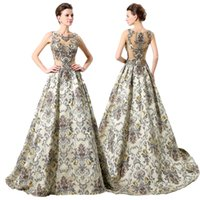 art deco tapestry - Luxury Embroidery Beaded Evening Dresses Vintage Sheer Neck Formal Prom Party Gown Tapestry Satin Pageant Dress LX007