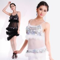 feather latin costume - 2014 New Latin Dance Costume Performance Latin Dance Wear Dancing Dress Women Feather Tango Skirts Black White Colors