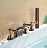 bathtub faucet with sprayer - 5PCS Deck Mounted Bathtub Waterfall Spout Mixer Tap Oil Rubbed Bronze Finished Bathroom Tub Faucet with Handheld Sprayer