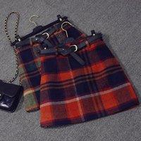 venda por atacado mini plaid skirt-2 cores saia de lã 2015 outono inverno mulheres moda nova s-XL slim quadris geométricos guingão mini lápis manta saia