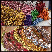 berry garland - DIY Multicolor Garland Artificial Flower Head Ring Wedding Decoration Berry Flower Stamen Wreath Simulation Flower Bead
