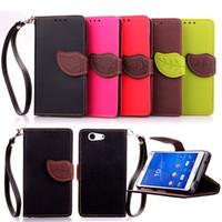 aqua handbag - Leaf Flip PU Leather Wallet Case TPU Cover with Lanyards Card Slots Stand For sony z1 z2 z3 z4 mini z5 AQUA Premium