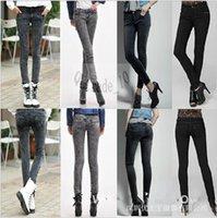 Wholesale 500 TOPB4757 women ripped cowboy Leggings fashion Sexy Disco jeans Slim Skinny Denim pencil pants Spandex Graffiti Cropped trousers tights