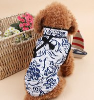 Wholesale 2015 New Fashion Pet Dog Clothes Chinese Blue and White Cheongsam Dog Vest Roupas Size XS S M L XL WTD044