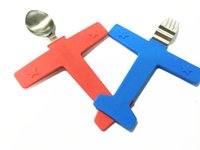air rice - 1set air fork spoon plane toy sculpt children tableware stainless steel rice scoop