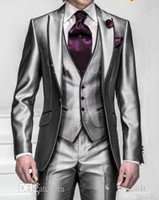 best trims - New Shiny Slim Fit Groom Tuxedos Silver Grey Best Man Peak Lapel Groomsman Men Wedding Dinner Suits Bridegroom