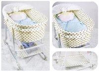 Wholesale Automatic Naturally Swing Baby Cot Baby Cradles Beige Color With Dot Baby Sleeping Basket Baby Bed with Mosquito Net Hot Sale