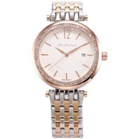 Wholesale Taylor Cole Brand Women Bracelet Watches Auto Date Rose Gold Silver Stainless Steel Strap Lady Rhinestone Dress Watch TC013
