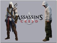 Wholesale Newest Assassin Creed Jacket White Hooded Sweatshirt Anime Cosplay Hoodies Zipper Cotton Assassin s Creed Jacket Costume warm