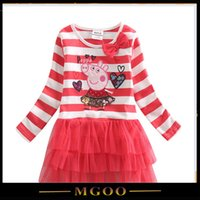 Cheap 2015 New Children Red Layer Dress For Girl Birthday Infant Dress Bow Long Sleeves Dresses For Party