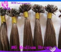 u tip hair extensions - 2015 NEW u tip extensions straight virgin hair keratin hair extensions g human hair Medium Brown inch Cheap