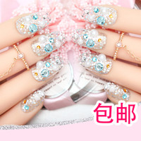 acrylic short nails - French unghie finte bride short D fake full cover press on false nails decorated set unhas faux ongles acrylic tips