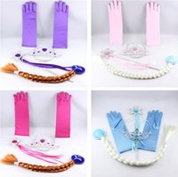 Wholesale Frozen Princess Crown Magic Wand Wig Braid Gloves Set Frozen Magic Wand Set Cosplay Accessories Kinds Of Style