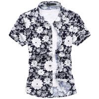 Cheap Wholesale-2016 Summer Casual Floral Shirts For Men Fashion Mens Short Sleeve Silk Hawaiian printing Shirt Plus Size M-6XL