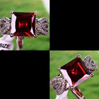 Wholesale Red Ruby Gemstone Square Crystal Luxury Wedding Lady Finger Ring New Princess Cut Garnet Topaz Gemstone Silver Ring Size New Arrival