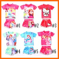 swim shirts - 2pcs Frozen Swimwear Child Sets Beachwear Kids Swimwear Girls Swimsuit Children Swimwear Kids Bathing Suits Tee Shirt Swim Trunks