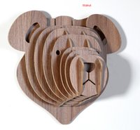 bear wood carvings - wooden teddy bear head for wall decoration DIY crafts for children animals head wall wood carvings bears fashion decoration set