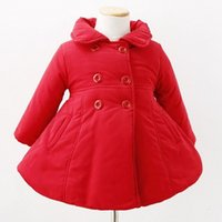 Wholesale Girls Coat Cotton Padded Jacket Autumn And Winter Double Breasted Cardigan Thick Cotton Year Old Princess A Word Coat Pocket
