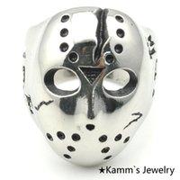 black friday - Black Friday Hockey Jason Mask Skull Skeleton Face Rings Novel Mens L Stainless Steel Punk Rock KR063