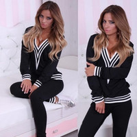 Wholesale Hottest Sexy Women Tracksuits New Arrival Two Pieces V Neck Long Sleeves Sport Suits Women Black and White Fashion Sport Clothes
