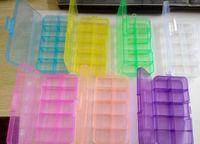 Wholesale 10 Plastic Grid Slots Adjustable Beads Craft Jewelry Medicine Storage Box Storage Box