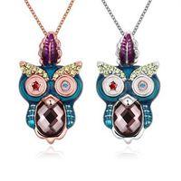 Fashion Rose / Charm Collier avec pendentif Marque Owl or blanc plaqué Zircon Collier Collier en forme de S pour Femmes Filles