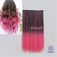 2015 clips recta larga extensión sintética del pelo colorido 1Pc 5 en Ombre Negro coloreado rosado Clip-On en Hairpiece Mujeres Styling