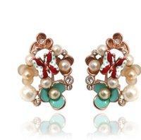Wholesale pearl butterfly flower lady s earings xysppfh