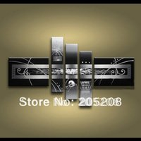 Cheap Framed 5 Panel Large Black and White Abstract Art Oil Painting Modern Deco Set Wall Picture XD00690