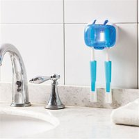 bathroom accesory - Hot Sale Bathroom clean Toothbrush Holder Wall Mount White blue Useful Family Accesory Toothbrush Rack DP872338