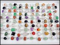 beautiful cheap rings - 100pcs Mix Hot Selling Multicolor Little Natural Stone Ring Cheap Costume Jewelry Beautiful Fashion Women Fancy Rings