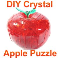 Wholesale D DIY Puzzle Crystal Decoration gift Red Apple Jigsaw IQ Gadget Hobby Educational Toy Gift Crystal gift