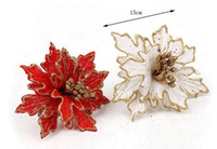 artificial trees cheap - Newest Arrival cm Red Glitter Artificial Christmas Flowers Poinsettia Cheap Christmas Ornaments