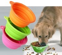 Wholesale Portable Pet Dog Cat Fashion Silicone Collapsible Feeding Bowl Pet Feed Water Feeders Foldable Travel Food Bowls Dish colors Frisbee