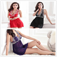 babydoll sleepwear xl - Erotic Halter Mesh Lace Sleepwear Adult Lingerie Sexy Underwear For Womens Babydoll Nightwear Plus Size M XL Black Purple Red
