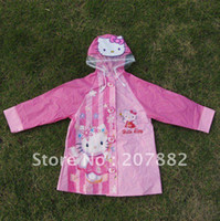Wholesale Free Shiping Fashion Cartoon Children s Raincoat Hello Kitty Cartoon Rainwear A0671 on Sale