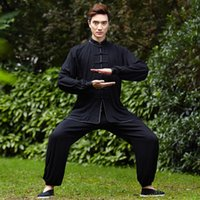 ancient chinese clothing men - Men cotton tangzhuang top quality taiji uniform traditional chinese kung fu clothing ancient chinese costume wushu homme tracksuits
