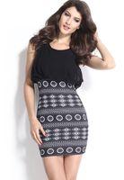 aztec bodycon skirt - Black Aztec Skirt Mini Dress European women s new fashion gauze mosaic black Aztec sexy dress