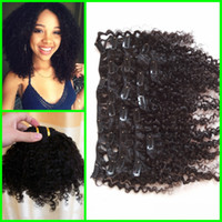 clip in curly hair extension - 2015 New Coming Virgin Mongolian Human Hair a b c Afro Kinky Curly Clip In Hair Extensions For Black Woman
