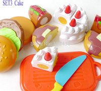 Wholesale Christmas gifts Plastic Children Kids Cutting Birthday Party Cake Hamburg Slice Baby Classic Toy Kitchen Food Pretend Play House Artificial
