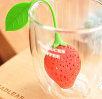 Wholesale Cute Fashion For Tea Strawberry Shape Silicon Tea Infuser Strainer Silicon Tea Filler Bag Ball Dipper Tea Tools Cup Hanger