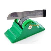 Wholesale 1Pc Mini Knife Sharpener Stone Abrader Two Grinding Wheels Kitchen Knife Sharpening for Outdoor Camping