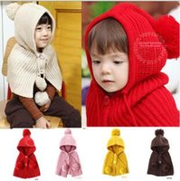 baby stealing - Poncho Shawls Hats Scarves Gloves Wraps Stole Cute Baby Boy Girl Kids Knitted Winter Hat Bobble Shawl Cape Super Warm Crochet cap