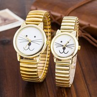 Wholesale Valentine s Day Jewelry Lover Couple Cat Watch Elastic Gold Stainless Steel Band Watches Men Women Casual Quartz Watch W83